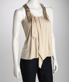 racerback tank with buckle straps and asymmetrical ruffle