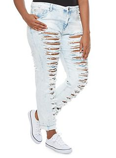 Plus Size VIP Jeans Acid Wash Distressed Skinny Jeans With Rolled ...