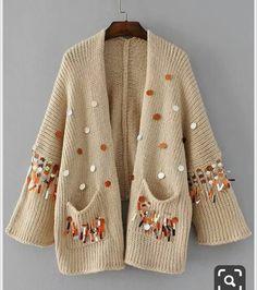 Khaki Metallic Sequin Two Pocket Drop Shoulder Oversized Cardigan Material: Acrylic Color: Khaki Pattern Type: Plain Neckline: Cocoon Style: Casual Types: Oversized Decoration: Pocket, Sequin Items: Cardigan Sleeve Length: Long … Cardigan Au Crochet, Cardigan En Maille, Sequin Cardigan, Oversized Cardigan, Knit Crochet, Knitting Blogs, Hand Knitting, Knit Baby Dress, Diy Vetement