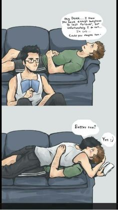 Boyfriend comfortable.