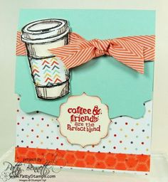 www.PattyStamps.com - Perfect Blend stamp set and the Pop N Cuts base creates a great Starbucks gift card holder