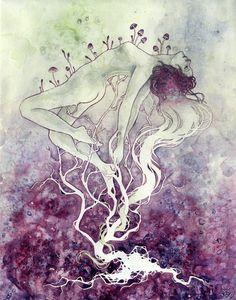 "Kelly McKernan ""Provenance"" Watercolor 11"" x 14"" x 1.5"" """