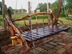 Outdoor Swing for oldest son's back yard . near the bbq pit Outdoor Seating, Outdoor Spaces, Outdoor Living, Outdoor Decor, Garden Swing Seat, Porch Swing, Western Decor, Country Decor, Log Furniture