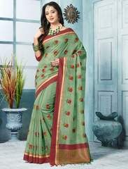 Buy latest collection of designer sarees including variety of sarees. Order this art silk green traditional saree for festival and party. Phulkari Saree, Kasavu Saree, Lehenga Saree, Bollywood Saree, Sari, Blouse Styles, Blouse Designs, Saree Styles, Bandhini Saree
