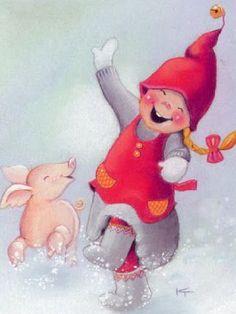 Kaarina Toivanen - Юлия К - Picasa Web Albums Christmas Music, Christmas Love, Christmas Pictures, Vintage Christmas, Scandinavian Gnomes, Scandinavian Christmas, Christmas Illustration, Children's Book Illustration, Elves And Fairies