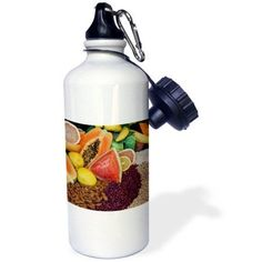 3dRose South America, Mexico, Tecate. Fruit and grains at Rancho La Puerta. , Sports Water Bottle, 21oz