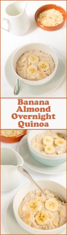 Banana almond overnight quinoa is a really quick easy and delicious bowl of nutrition to get you started first thing in the morning. Its great waking up and knowing your day starts with this. Especially because its pre-made! Brunch Recipes, Breakfast Recipes, Vegan Recipes, Cooking Recipes, Overnight Quinoa, Overnight Porridge, Quinoa Breakfast, Breakfast Bites, Seitan