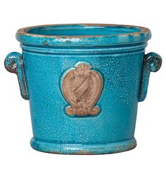 Rustic Garden Terrace Small Turquoise Cachepot - The Clay Corner http://apps.agenne.com/ProductDisplay.cfm?id=370276&cid=377