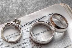 Wedding rings on The Bible #weddingrings www.linkedringweddings.com