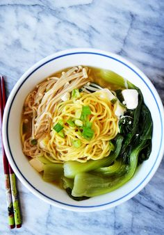 Ramen Miso Soup with Enoki Mushrooms & Baby Bok Choy - healthy cooking recipes Bok Choy Recipes, Ramen Recipes, Asian Recipes, Vegetarian Recipes, Healthy Recipes, Noodle Recipes, Enoki Mushroom Recipe, Mushroom Soup Recipes, Ramen Miso
