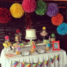 Rainbow Lolly Buffet Lolly Buffet, Birthday Cake, Rainbow, Buffet Ideas, Party, Desserts, Wedding, Food, Decoration