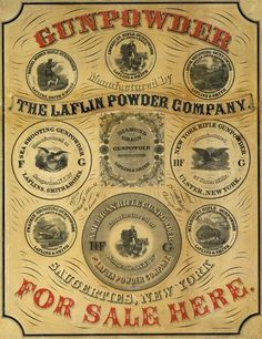 1850 advertisements | 1850s Gunpowder for Sale Advertising Poster