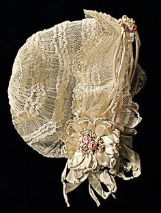Victorian Ivory Lace Bonnet with Satin Ribbon Flowers & Ties ....