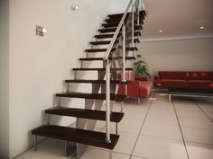 Limons de métal avec rampe d'acier inoxydable et verre  Metal stringer with stainless railling and glasses Stairs, Home Decor, Banisters, Stainless Steel, Drinkware, Stairway, Decoration Home, Room Decor, Staircases