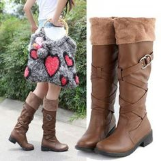 New Arrivals Flat Sole Round Head Pure Color High Boots Snow Boots [AVBWNR222-1] - $18.18 : Online Clothing Stores, Cheap Clothes,Online Clothes Shopping