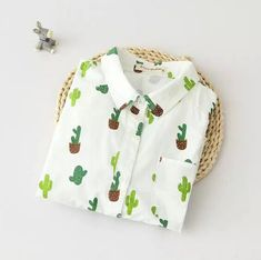 Turn-down collar  long sleeve literary  Fresh cactus print  shirt   blouse mori girl