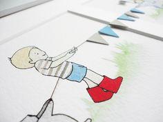 Boy's Nursery Art, Watercolour Print, Pastel, Whimsical, Boy's Illustration, New Baby, Animals, Landscape Art, Framed, Long Picture by DaisyandBumpArt on Etsy https://www.etsy.com/listing/109362300/boys-nursery-art-watercolour-print