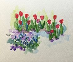Spring Garden Watercolor Card / Hand Painted Watercolor Card