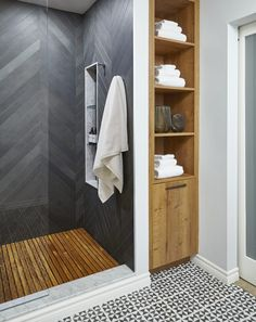 Teak, Tile & Vanity — Floating Bathroom by Square Footage Inc.