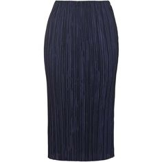 TopShop Plisse Tube Skirt ($35) ❤ liked on Polyvore featuring skirts, navy blue, topshop skirt, knee length pleated skirt, tube skirt, topshop and blue pleated skirt