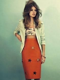 blazer. hair. skirt.