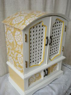 Vintage Hand Painted And Decoupaged Upcycled Jewelry Box Jewelry Armoire