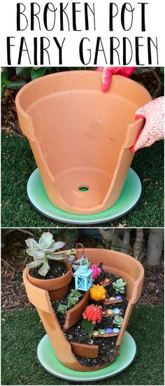Give Your Broken Pots A Magical Boost By Turning Them Into Fairy Gardens is part of garden Crafts Pots - Bippity boppity YAS Fairy Pots, Mini Fairy Garden, Fairy Garden Houses, Gnome Garden, Fairies Garden, Fairy Gardening, Garden Bed, Gardening Quotes, Gardening Hacks