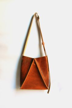 // Cognac Leather Hobo Crossbody Purse by CrowSLC.