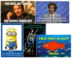 Spanish Posters at SpanishTeacherShop.com including Que Hace un Pez poster and One does not use google translate poster.