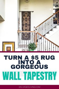 Turn a $5 rug into a gorgeous wall tapestry for a budget friendly home decor idea anyone can do. #walldecor #decorhack #budgetdecor Diy Home Decor On A Budget, Decorating On A Budget, Diy Home Decor Projects, Craft Projects, Home Decor Inspiration, Decor Ideas, Diy Ideas, English Decor, Inexpensive Rugs