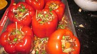 Stuffed red peppers www.cookingtothebeat.blogspot.ca