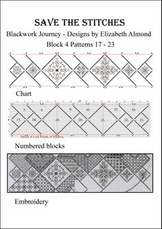 Block 4 'Save the Stitches'  March 2014 Free PDF download from  www.blackworkjourney.co.uk