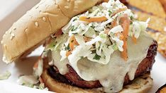 With a slathering of barbecue sauce and a topping of slaw, these juicy burgers may remind you more of pulled pork than turkey. That's a good thing. Slaw Recipes, Lunch Recipes, Summer Recipes, Grill Recipes, Chicken Recipes, Sandwiches For Lunch, Wrap Sandwiches, Best Turkey Burgers, Bbq Pork Tenderloin