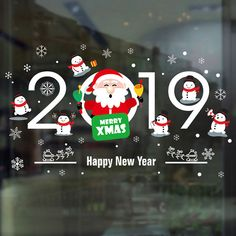 2019 Merry Christmas Decorations for Home New Year Cartoon Santa Claus Window Decor Stickers 3d Mirror Wall Stickers, Removable Wall Stickers, Flower Wall Stickers, Wall Decor Stickers, Window Stickers, Merry Christmas And Happy New Year, Simple Christmas, Christmas Diy, Christmas Pageant