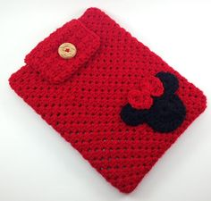 Hand Crocheted Red w/Minnie Mouse appliqué  Ipad Sleeve / Cover / Case by TheCheeryEwe, $14.00