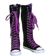 NEW Canvas Sneakers Flat Tall Punk Skate Shoes Lace up Knee High Boots. 6f7be0a72