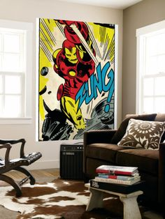 Marvel Comics Retro: The Invincible Iron Man Comic Panel, Fighting, Charging and Smashing (aged) Wall Mural