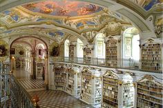 Library at the Benedictine Monastery of Admont, Admont, Austria. In the year 1074 Benedictine monks from Salzburg founded their own abbey in Admont in the Austrian region of Styria. 49 Breathtaking Libraries From All Over The World Beautiful Architecture, Beautiful Buildings, Beautiful Places, Baroque Architecture, Library Architecture, Classic Architecture, Chinese Architecture, Futuristic Architecture, Stunningly Beautiful