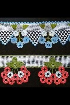 Crochet Flower Appliques set of 16 handmade craft Crochet Borders, Crochet Squares, Crochet Motif, Crochet Flowers, Knit Crochet, Crochet Leaves, Thread Crochet, Filet Crochet, Irish Crochet
