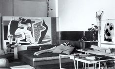 France. E1027 house interior, (after Le Corbusier painting), Roquebrune, Cap Martin, 1926-1929 // designer: Eileen Grey