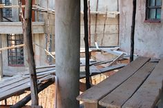 Wooden Scaffolding for a House in Kenya