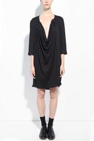 NICOLAS ANDREAS TARALIS via Honest by      Black Organic Cotton Jersey Longsleeve Panel Dress