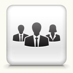 Royalty free vector icon button with Two Businessmen and Businesswoman vector art illustration