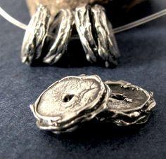 2 Organic Artisan Rondelle Sterling Silver by OakhillSilverSupply
