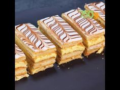 """Traditional recipe for Mille feuilles. Translating literally as """"a thousand leaves"""", this world-famous French dessert consists of three components: puff pastry, pastry cream or whipped cream, and a glaze or a fondant Puff Pastry Recipes, Crepe Recipes, Dessert Recipes, French Crepes, French Pastries, Roti, Cinnamon Tea Cake, French Desserts, Tea Cakes"""