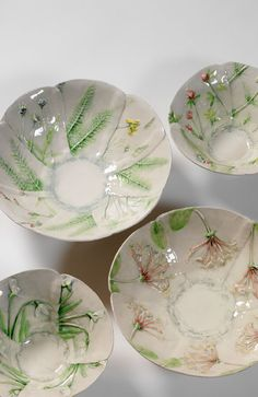 Clockwise from above: Large bowl, wildflowers; Small bowl, widlflowers; Large Bowl, Honeysuckle; small bowl, Snowdrop  sue dunne