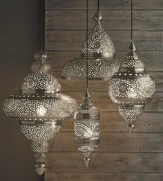 silver Moroccan Hanging Lanterns by cheryl b kitts