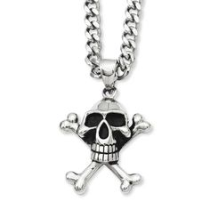 Chisel Antiqued Skull & Crossbones Pendant 24in Necklace, Men's