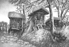 Pencil Drawings of Winter Scenes by Guram Dolenjashvili!