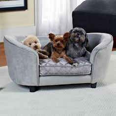 Enchanted Home Pet Quicksilver Pet Sofa Bed, 34 by 3 by Silver Ultra plush pet bed - fits pets up to 30 lbs. Storage for toys and bones Removable/Washable cushion cover Elevated draft free sleeping Full loft cushion Large Dogs, Small Dogs, Dog Sofa Bed, Sofa Beds, Couches, Dog Furniture, Furniture Decor, Cool Dog Beds, Dog Rooms